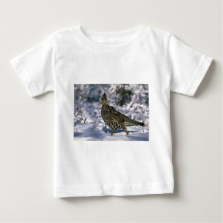 Ruffed grouse standing in a snowy weed lot shirts