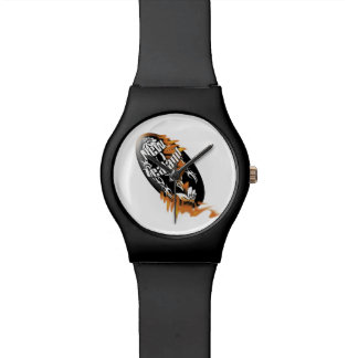 Rugby ball on fire black orange wristwatches