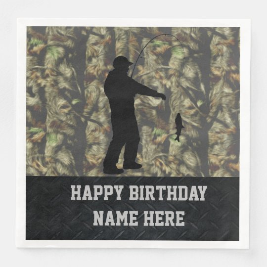 Rugged Camouflage Fishing Birthday Napkins Disposable Napkins