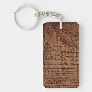 Rugged Chestnut Oak Wood Grain Look Key Ring