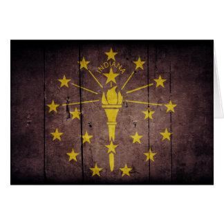 Rugged Wood Indiana Flag Card