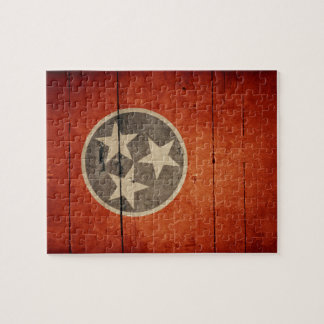 Rugged Wood Tennessee Flag Jigsaw Puzzle