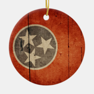 Rugged Wood Tennessee Flag Round Ceramic Decoration