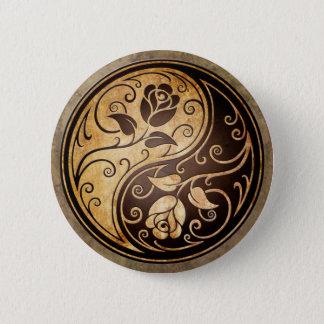 Rugged Yin Yang Roses 6 Cm Round Badge