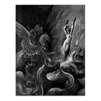 Ruggiero Rescuing Angelica by Gustave Doré Postcard