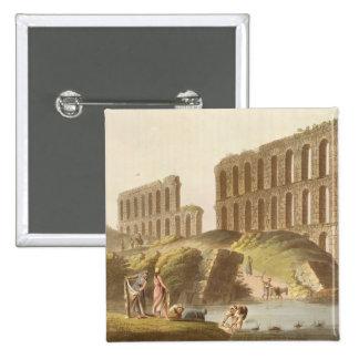 Ruins of the Grand Aqueduct of Ancient Carthage, p 15 Cm Square Badge