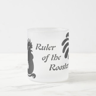 """""""Ruler of the Rooster"""" Rooster Frosted Glass Mug"""