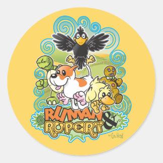 Ruman and Rupert Crest Classic Round Sticker