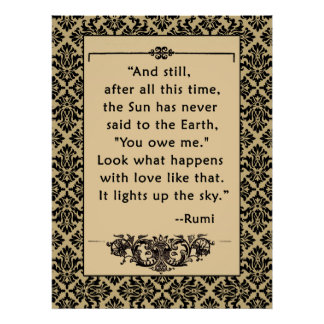 RUMI Quote on Poster or Print Sun and Earth