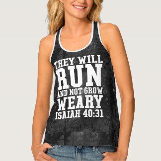 Run and Not Grow Weary Christian Bible Running Singlet