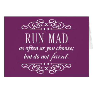 Run Mad / Do Not Faint Austen Quote Cards (Purple)