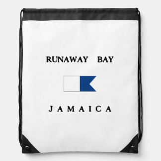 Runaway Bay Jamaica Alpha Dive Flag Drawstring Bag