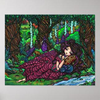 """Runaway Princess"" Fairy Dragon Fantasy Forest Art Poster"