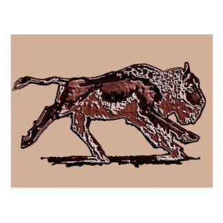 Running Buffalo Original Art Postcard