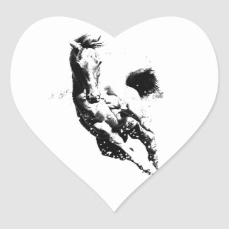 Running Horse Heart Sticker