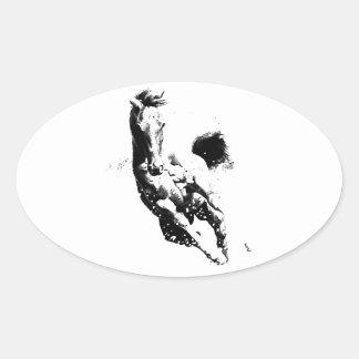 Running Horse Oval Sticker