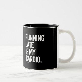 Running late is my cardio -   - Gym Humor -.png Two-Tone Coffee Mug