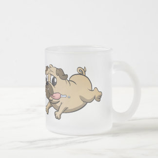 running pug cartoon frosted glass mug