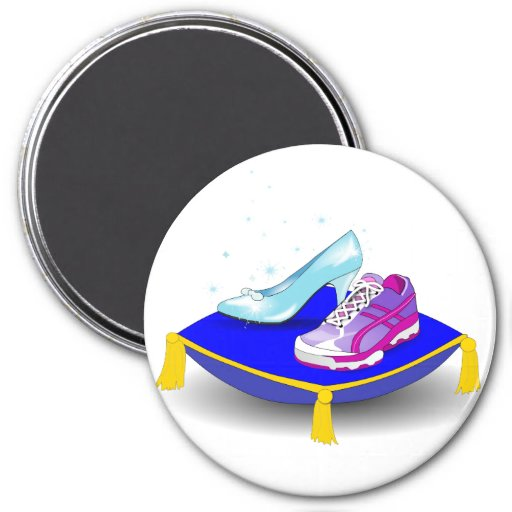 Running shoe and princess glass slipper on pillow refrigerator magnet
