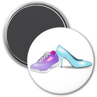 Running sneaker and princess high heel shoe 7.5 cm round magnet