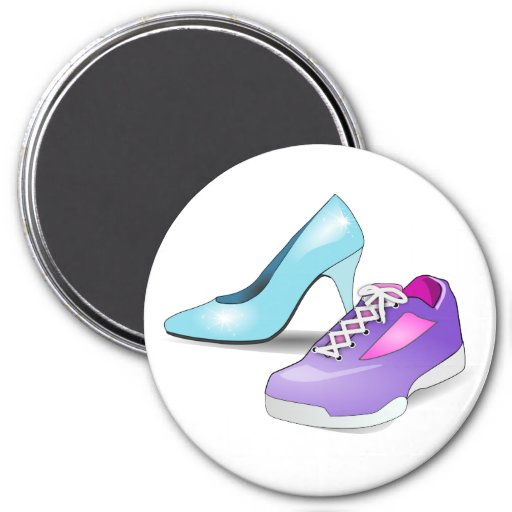 Running sneaker and princess high heeled shoe magnets