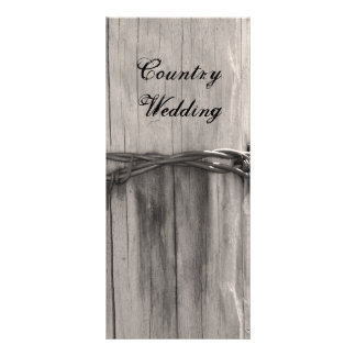 Rural Fence Post Country Ranch Wedding Program Personalised Rack Card