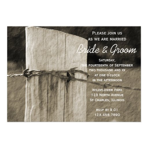 Rural Fence Post Country Wedding Invitation
