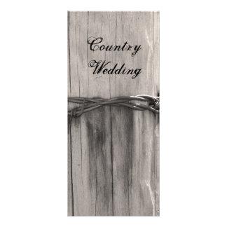 Rural Fence Post Country Wedding Program Personalised Rack Card