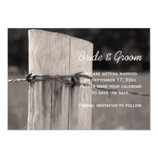 Rural Fence Post Country Wedding Save the Date 13 Cm X 18 Cm Invitation Card