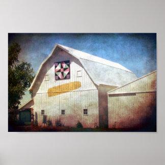 Rural Iowa Barn Corn and Quilt Print