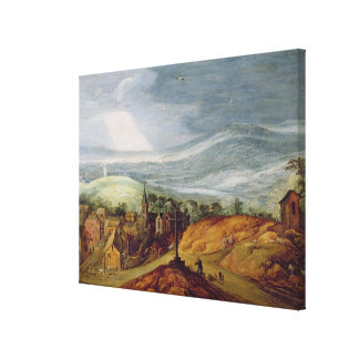 Rural Landscape with a Pilgrim Kneeling Before the Canvas Print