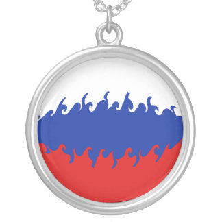 Russia Gnarly Flag Round Pendant Necklace
