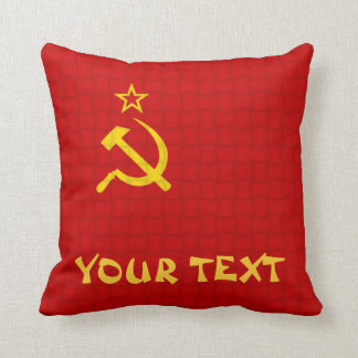 Russia Soviet union Flag: ADD TEXT Throw Pillow