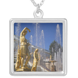 Russia, St. Petersburg, Golden statues in the Silver Plated Necklace