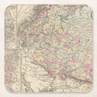 Russia, Sweden, Norway 2 Square Paper Coaster