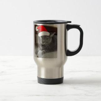 Russian Blue Cat Christmas Stainless Steel Travel Mug
