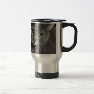 Russian Blue Gray Cat Stainless Steel Travel Mug