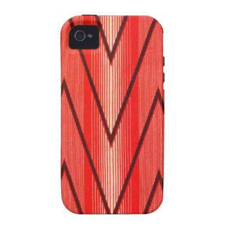 Russian French Folk Pattern, Red Zigzags Vibe iPhone 4 Case