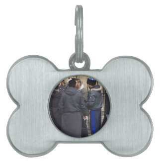 Russian Orthodox Priest outside Paris Notre Dame Pet ID Tags