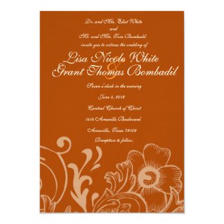 Rust and White Autumn Floral Wedding Invitation