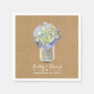 Rustc Burlap Blue Hydrangea Mason Jar Wedding Disposable Serviette