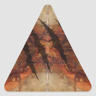Rusted Metal Claw Rip Pattern Triangle Sticker