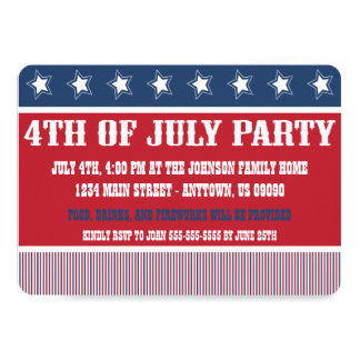 Rustic 4th Of July Party Invitations