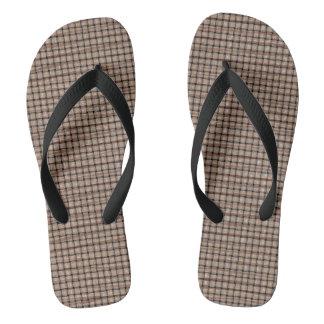 Rustic Abstract Burlap Brown Tan Weave Flip Flops