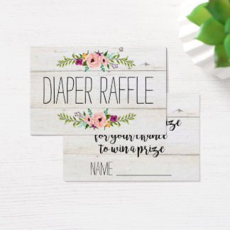 Rustic Adorned with Floral | Diaper Raffle Business Card