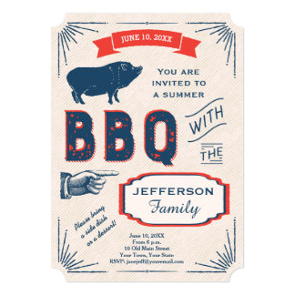 Rustic American Summer BBQ Party 13 Cm X 18 Cm Invitation Card