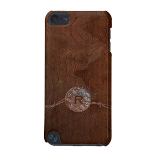 Rustic Antique Look Embossed Leather Monogram iPod Touch (5th Generation) Cases