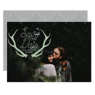 Rustic Antler Save the Date Card