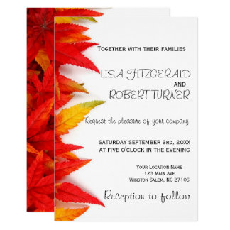 Rustic Autumn Leaves Fall Wedding Invitations