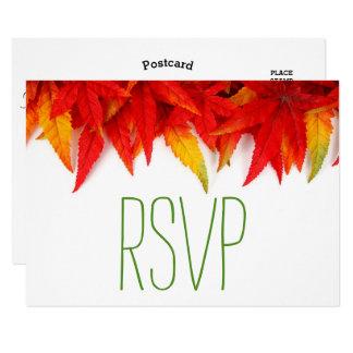 Rustic Autumn Leaves Fall Wedding- RSVP Card